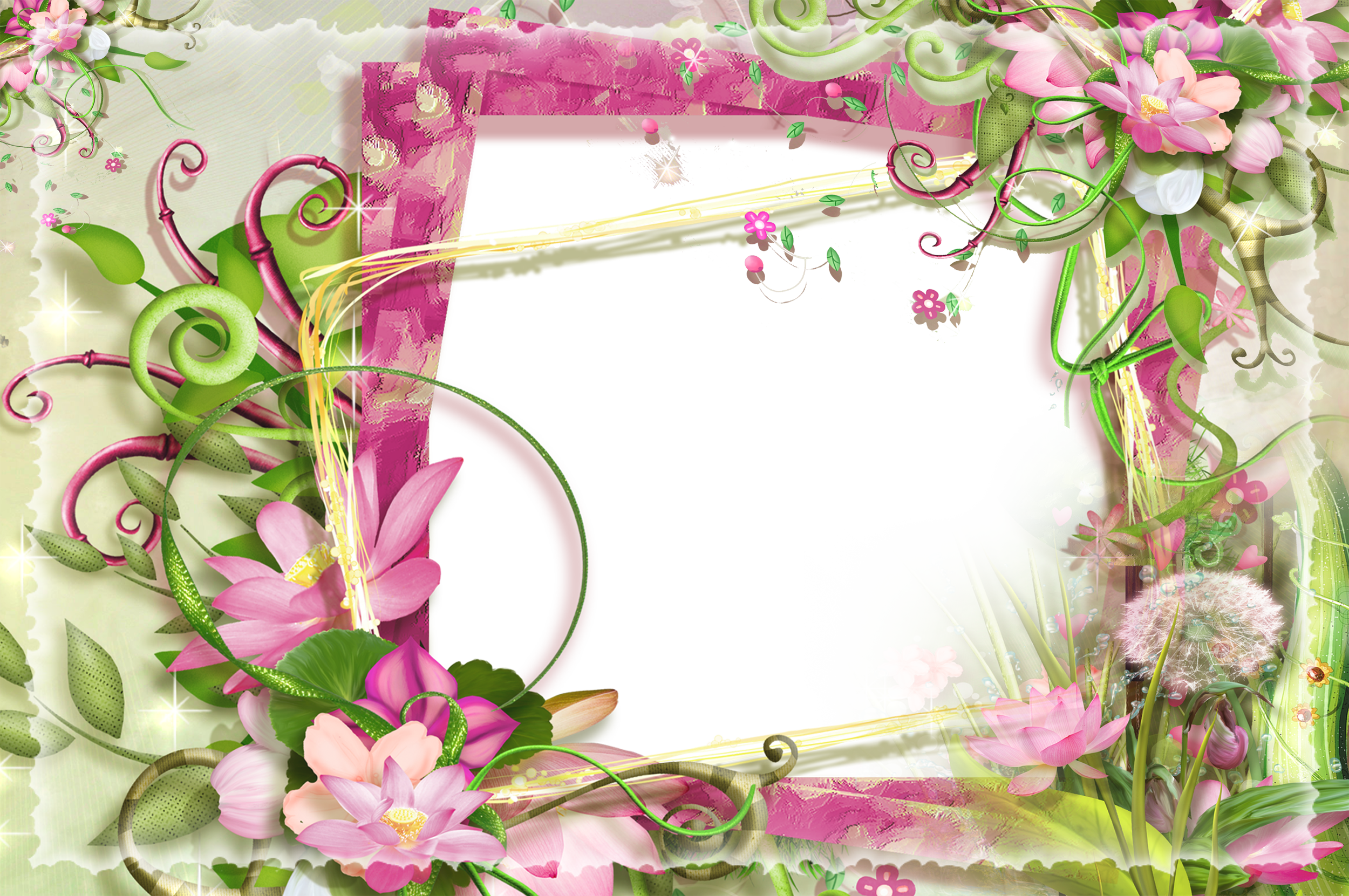 Pink and Green Flowers PNG Frame | Gallery Yopriceville - High ...