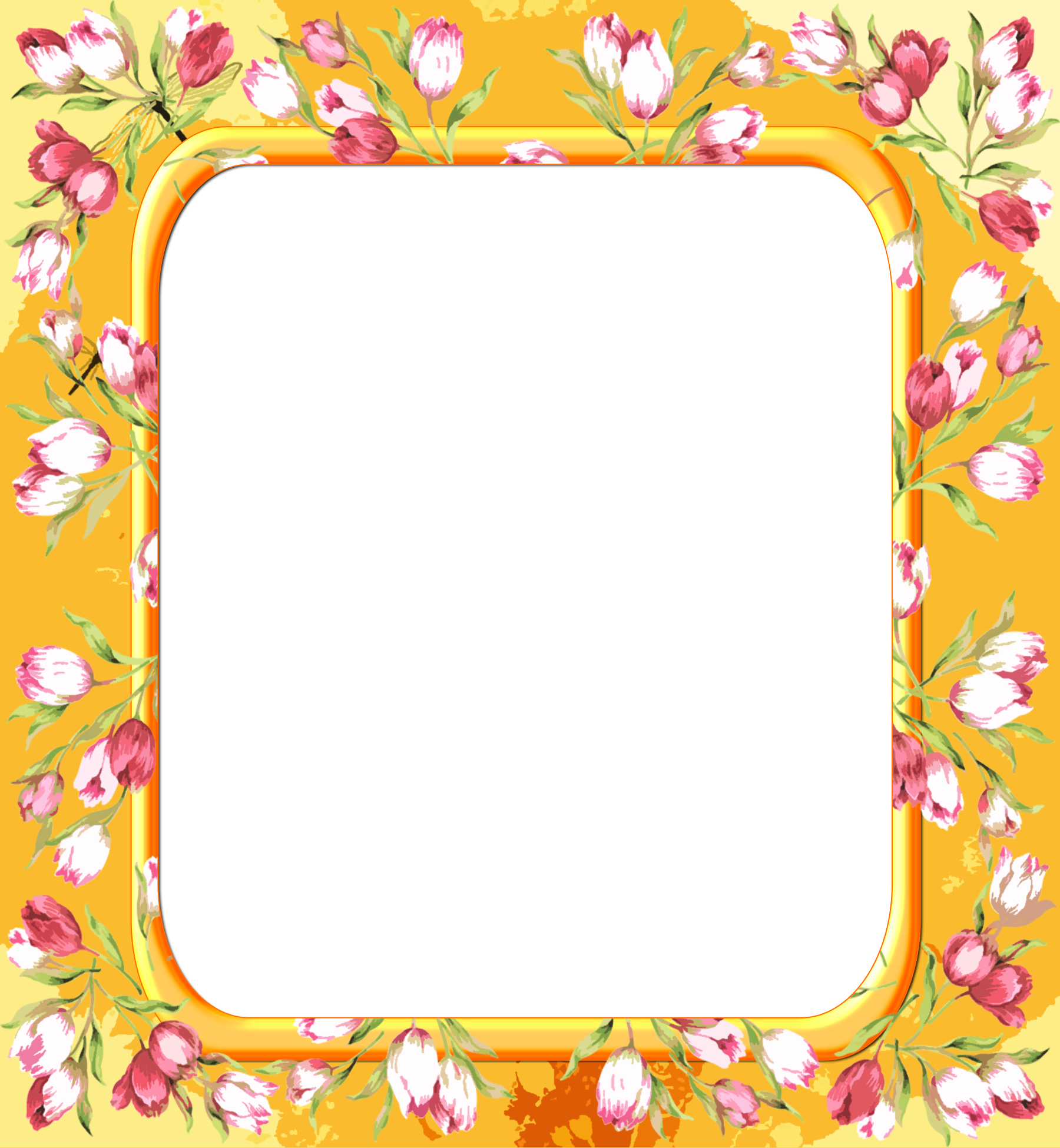 Transparent with pink flowers. Yellow frame png