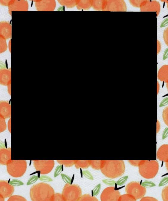 Aesthetic peach orange photoframe. Polaroid picture frame png
