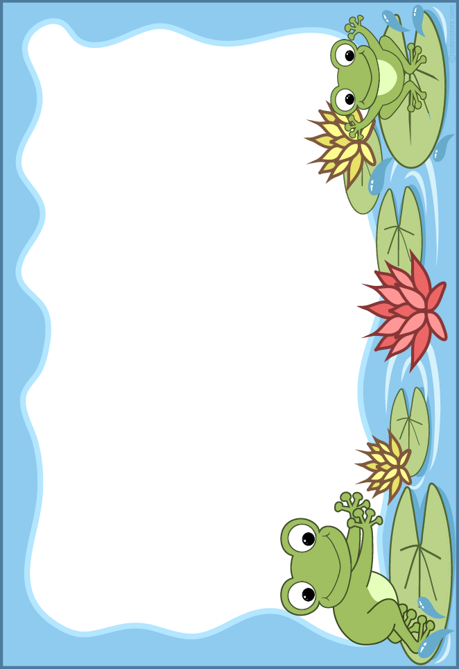Scrapbook clipart frame. Cute colors cliparts frogs