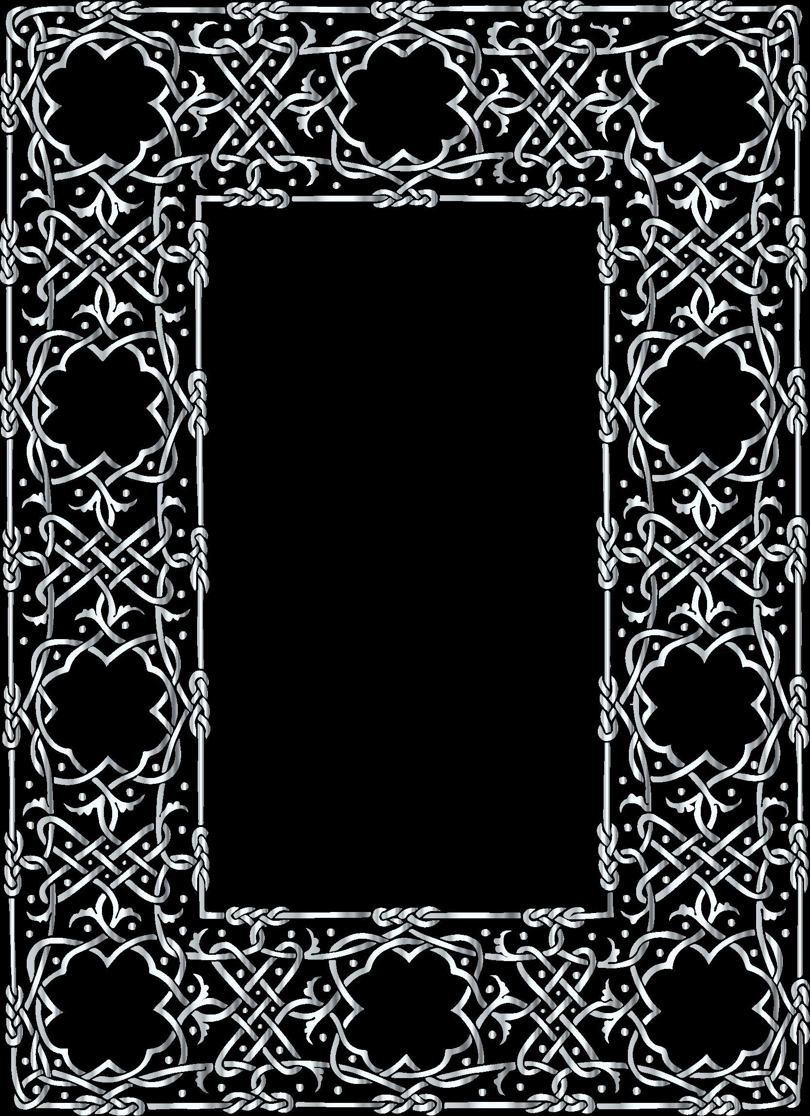 Frame clipart silver. Ornate geometric no background