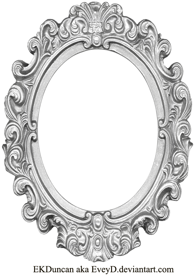 Mirror clipart wall template. Ornate silver frame long