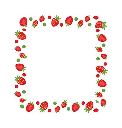 Sweet made of strawberry. Strawberries clipart frame