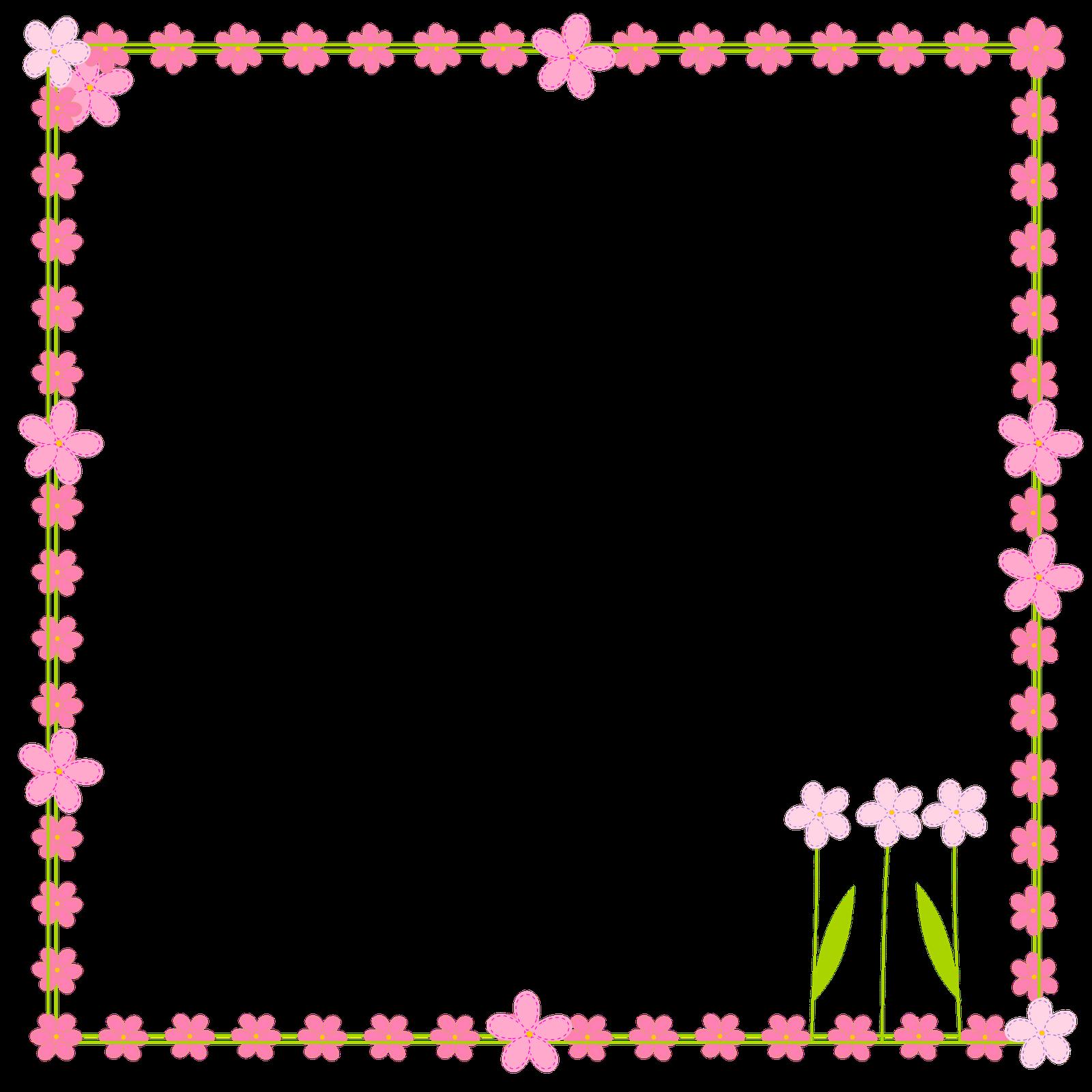 Free digital flower border. Scrapbook clipart spring