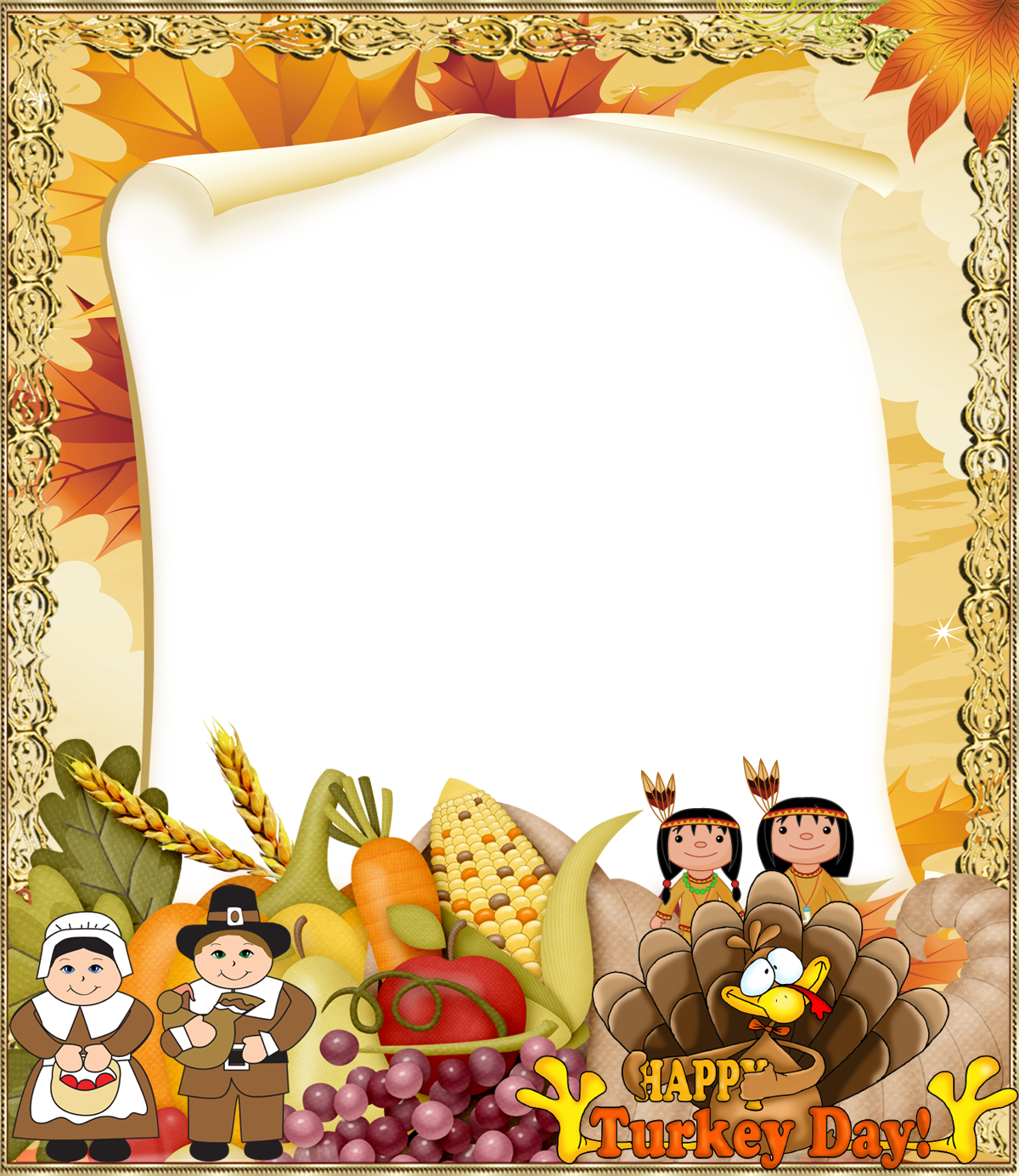 Clipart frames thanksgiving. Png photo frame gallery