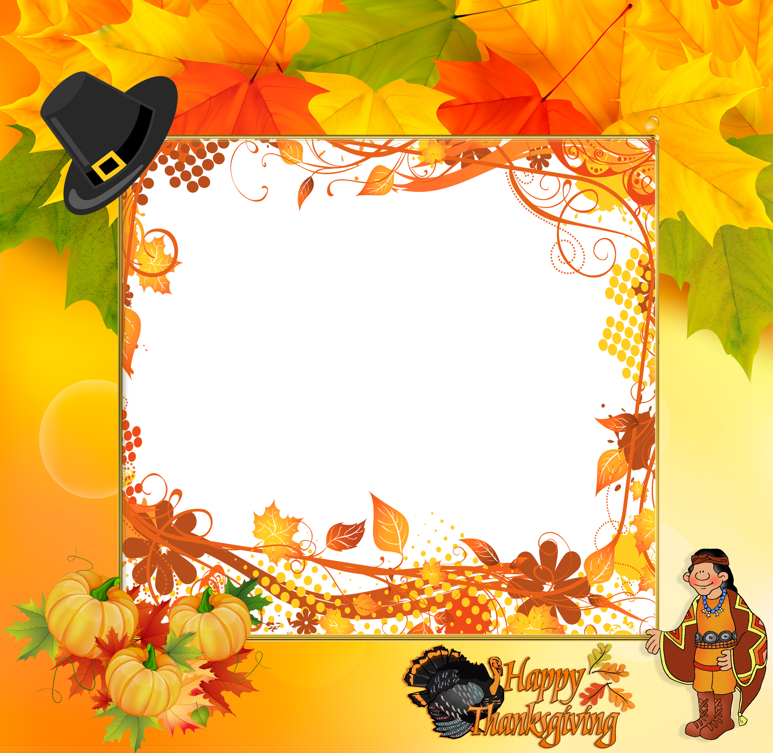 Clipart frames thanksgiving. Transparent happy frame gallery