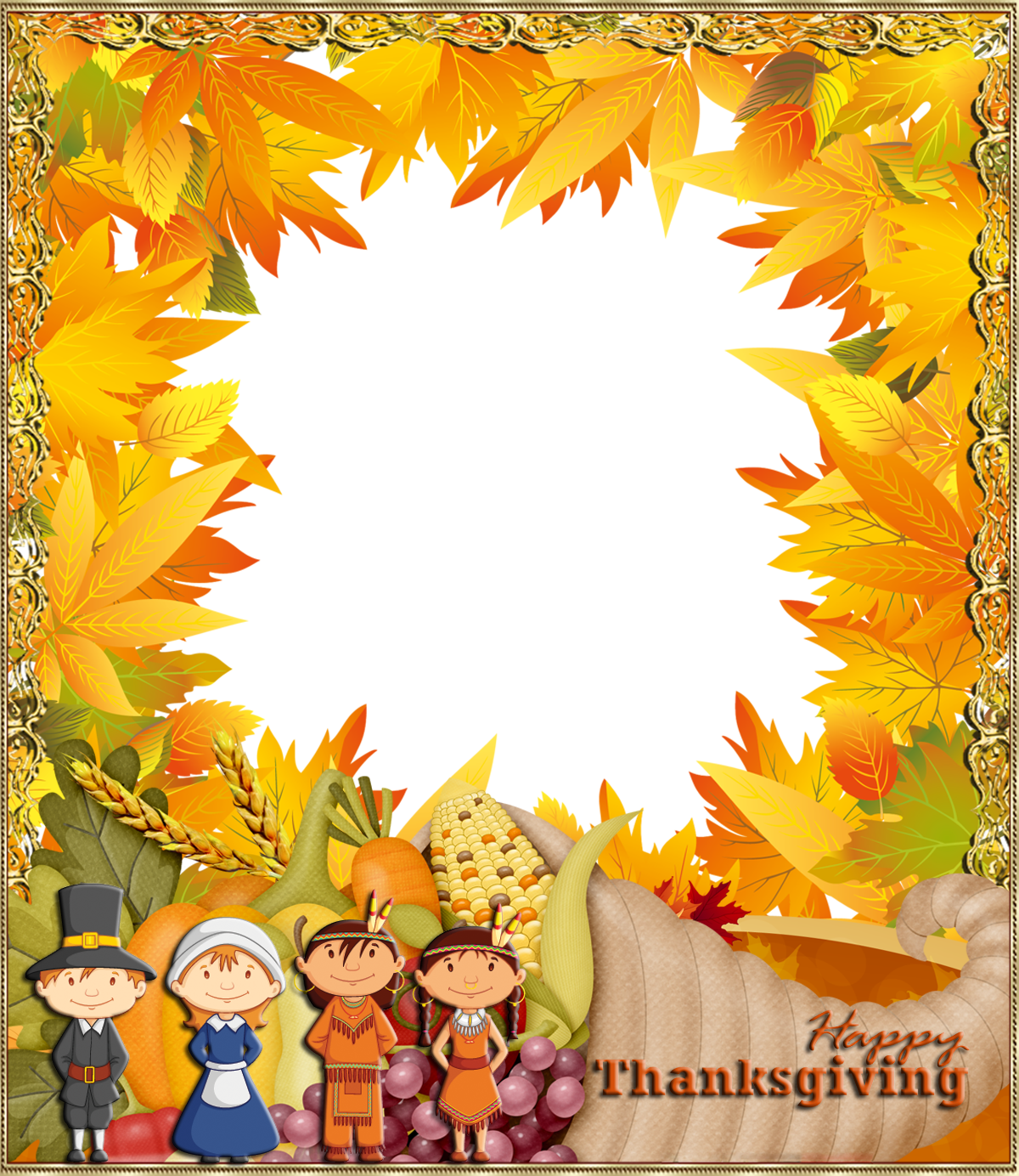 Happy png photo frame. Clipart frames thanksgiving