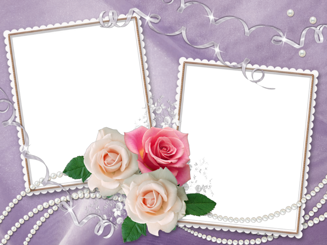 Purple transparent with roses. Wedding frame png