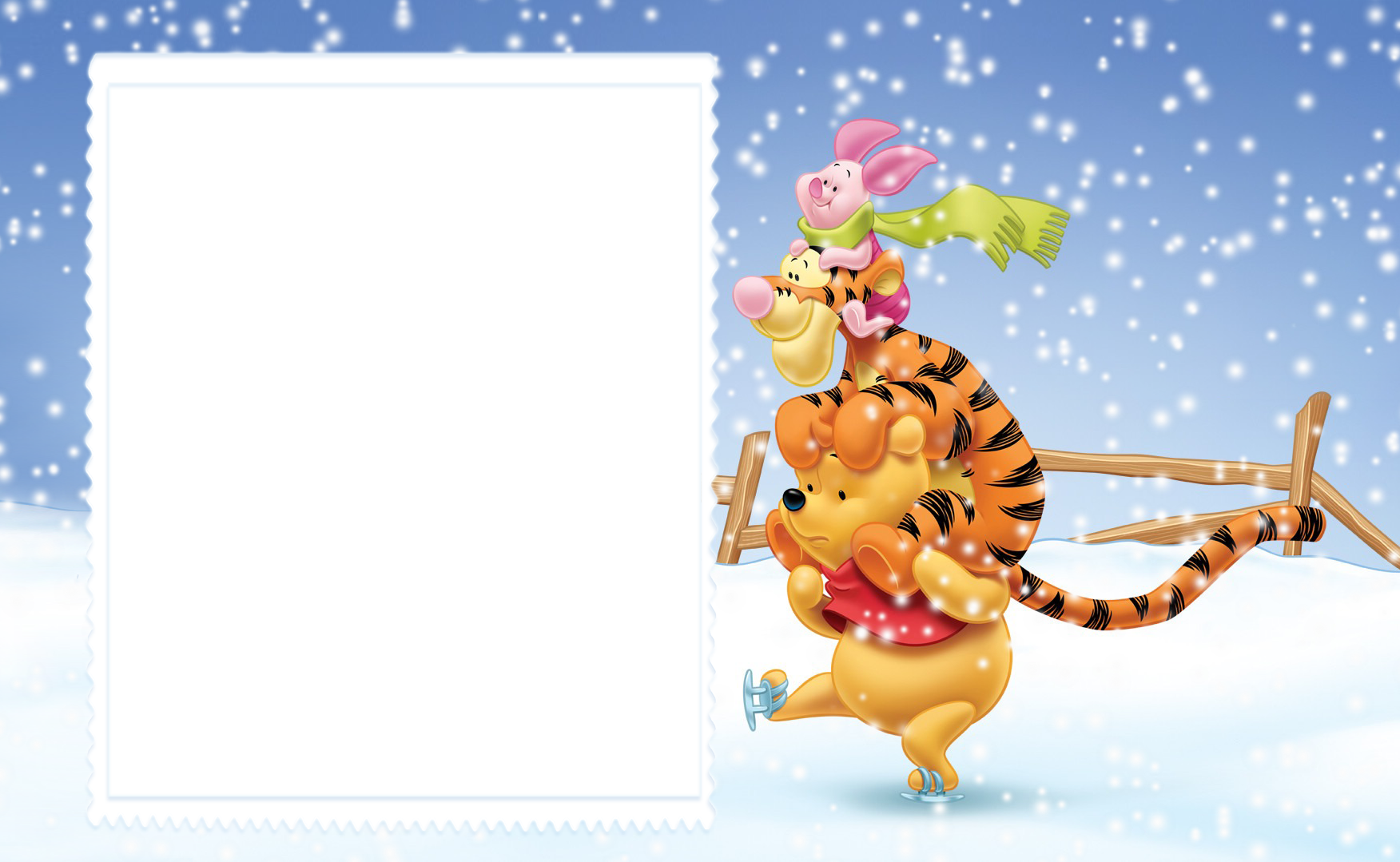 Cute kids with winnie. Clipart winter frame