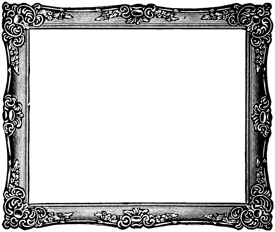 Painting frame and white. Fancy black border png