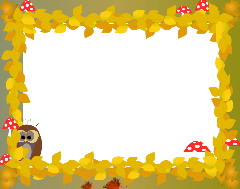 Free fall themed digital. Hedgehog clipart border