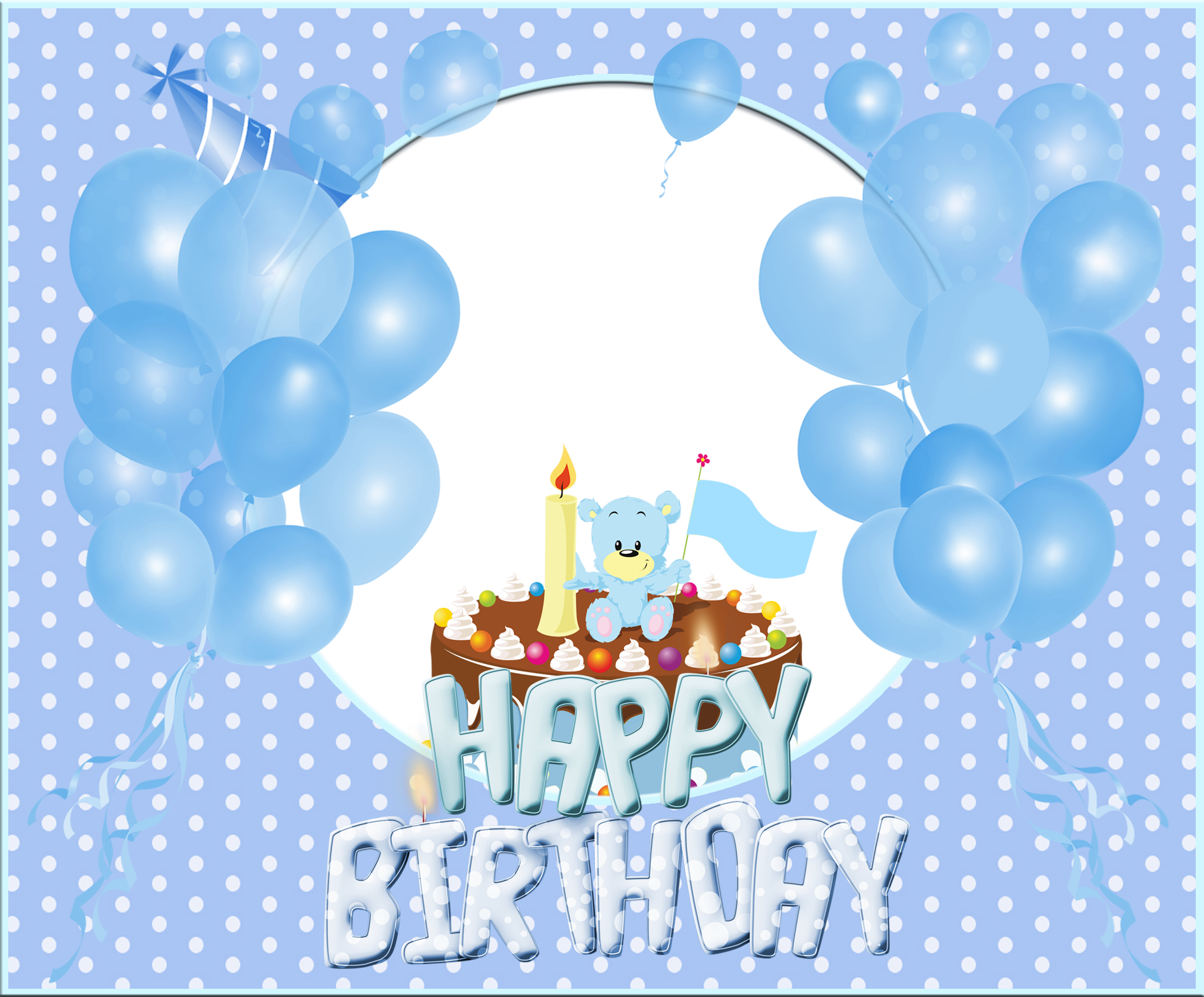 Streamers clipart birthday accessory. Transparent happy blue frame