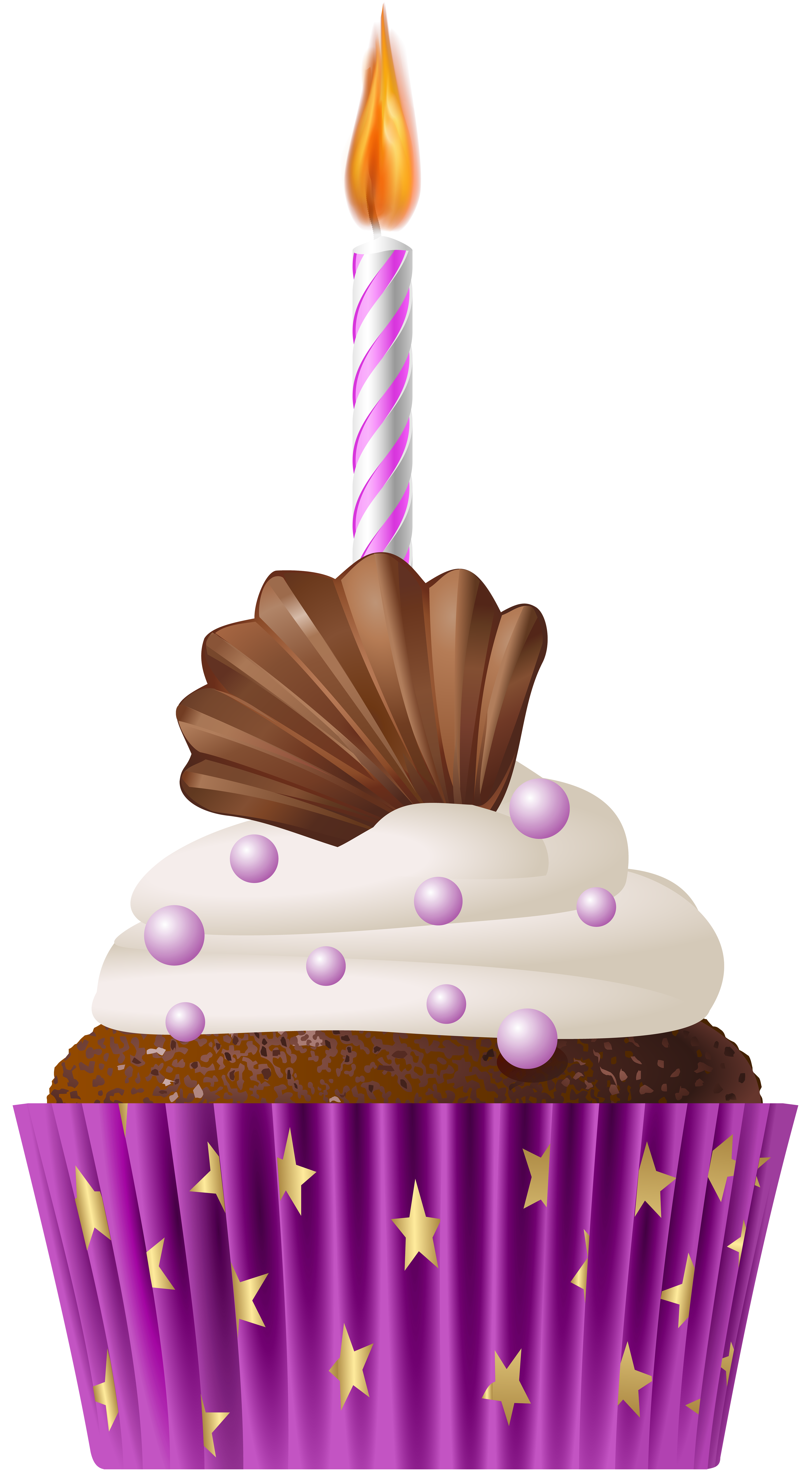 Muffin clipart cake and ice cream. Birthday pink with candle