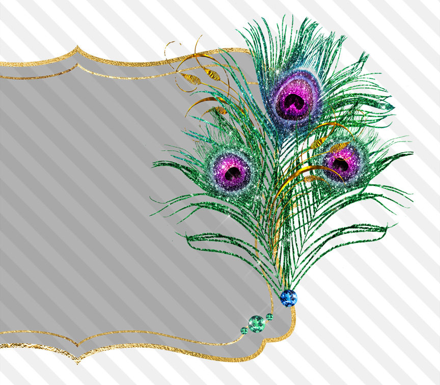 Peacock clipart glitter. Feather frames