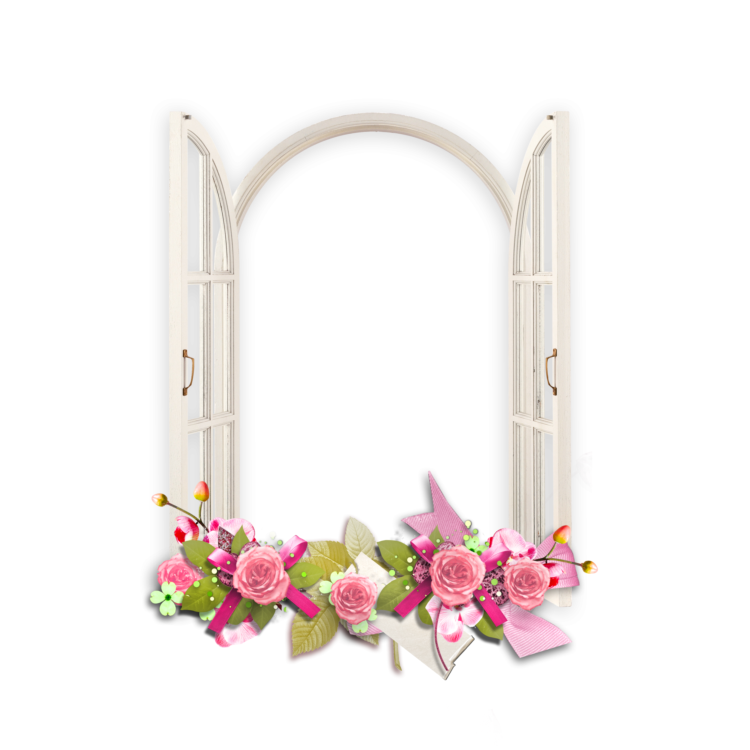 Window with pink flowers. Clipart frames flower