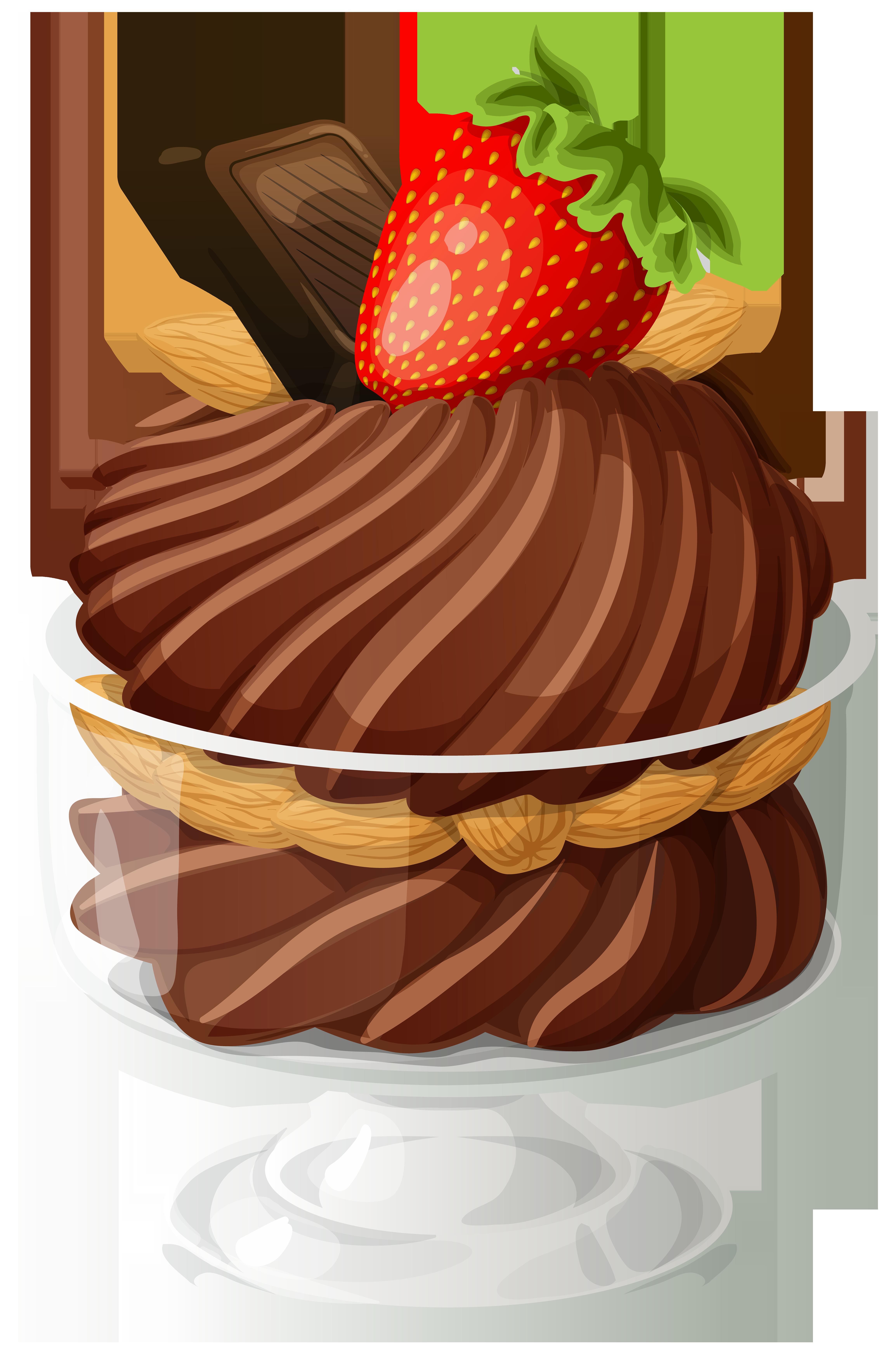 Strawberries clipart strawberry sundae. Chocolate ice cream png