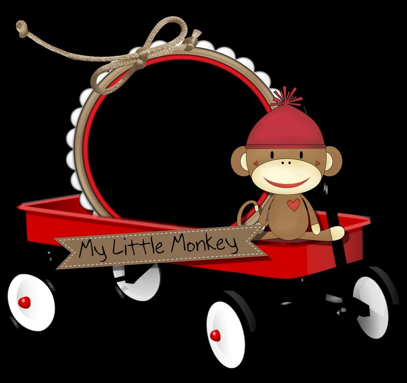 Cheyokota digital scraps sock. Monkeys clipart frame