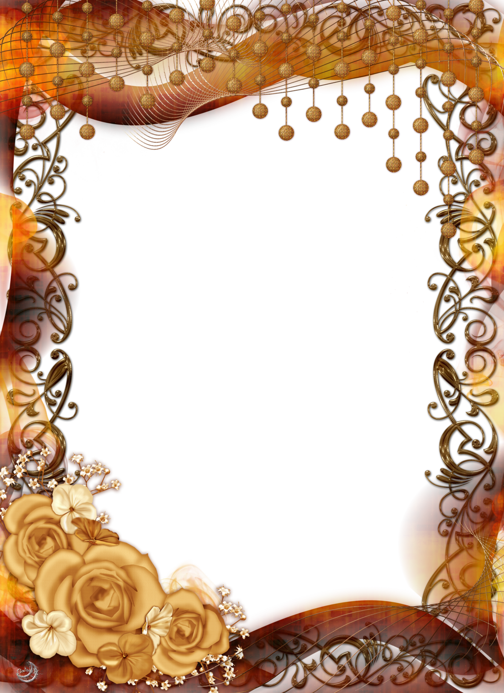Frames clipart peach. Frame with roses and