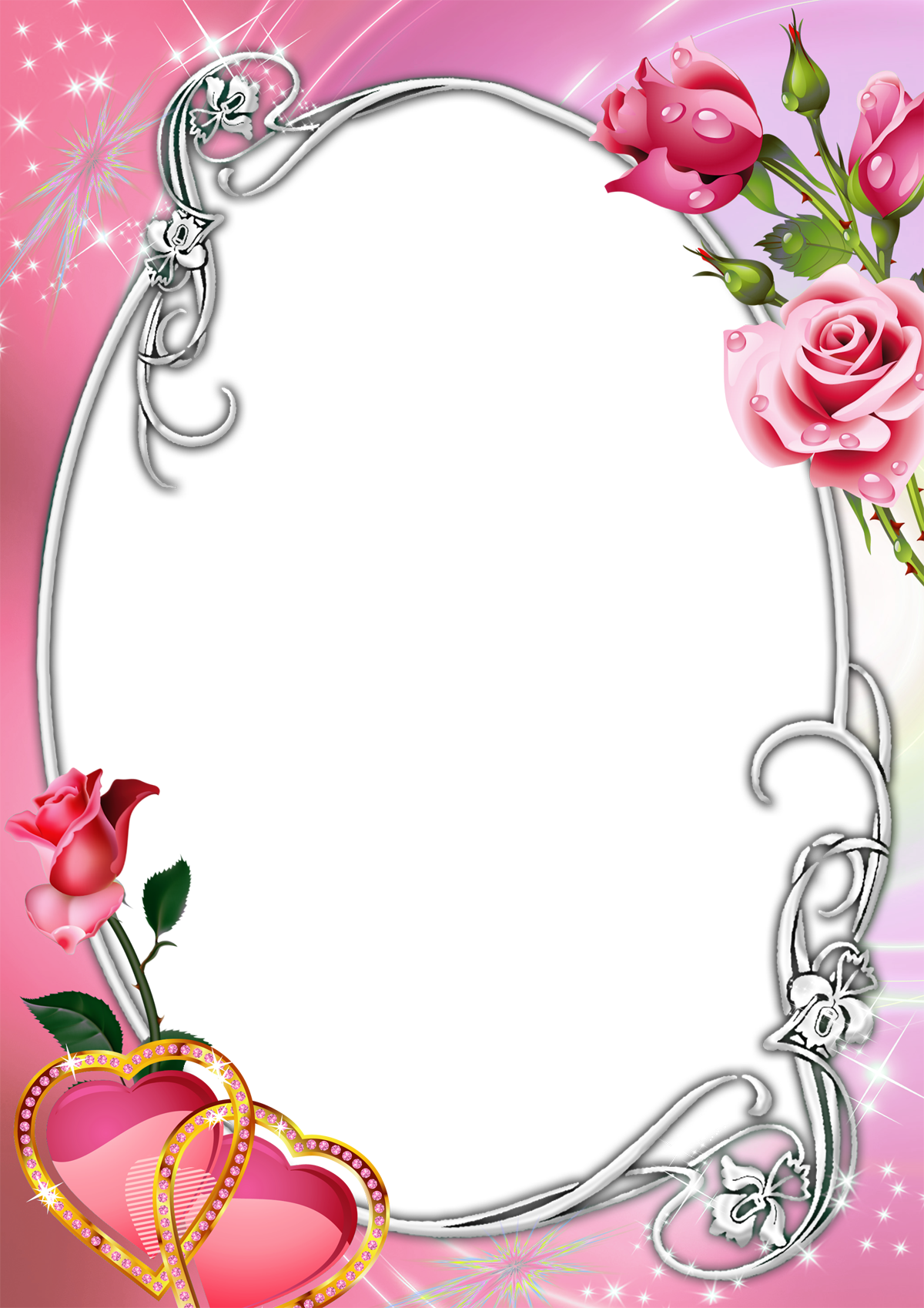 Pink transparent with roses. Clipart rose frame