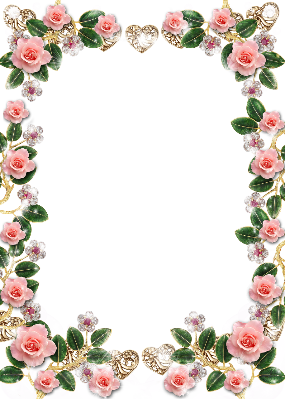 Delicate floral jewelries and. Clipart frames pink rose
