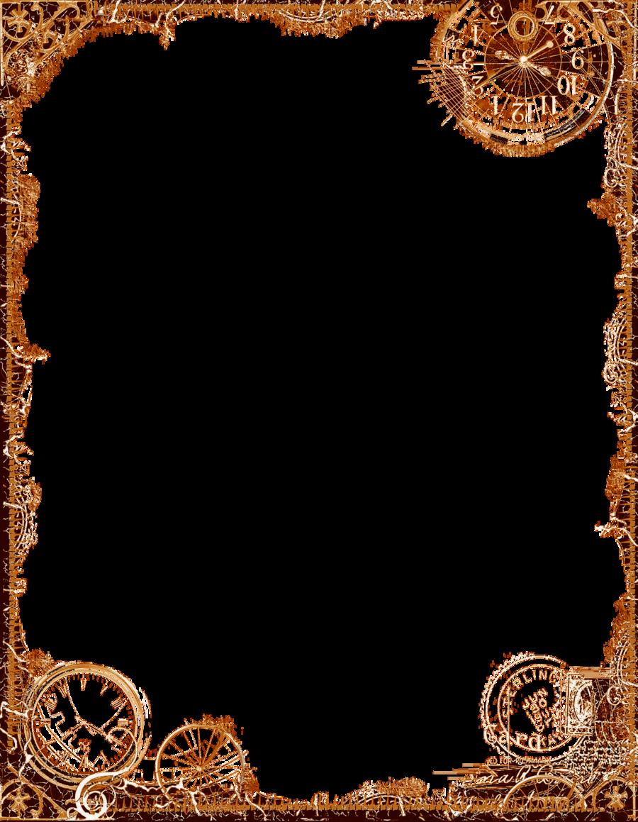 Bdr postalsteampunk ochre png. Clipart frames steampunk