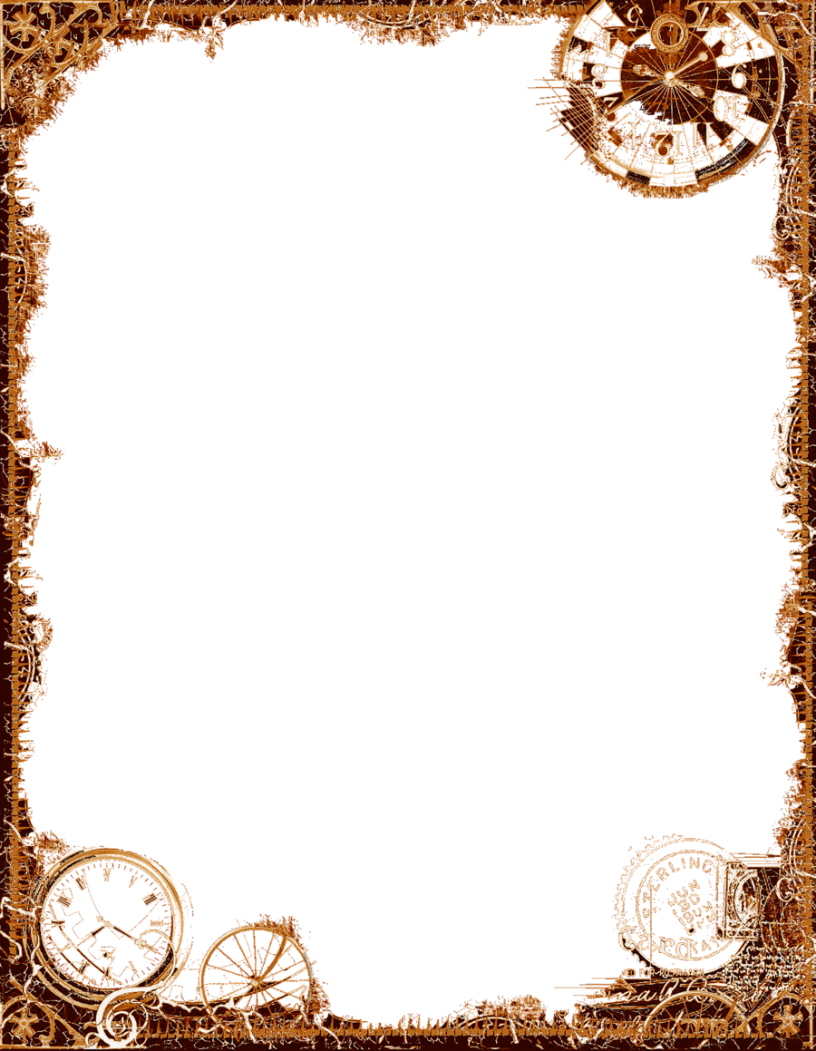 Bdr postalsteampunk ochre png. Steampunk clipart borders