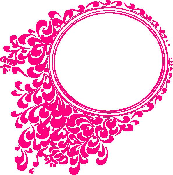 Magenta filigree circle clip. Pink clipart bracket