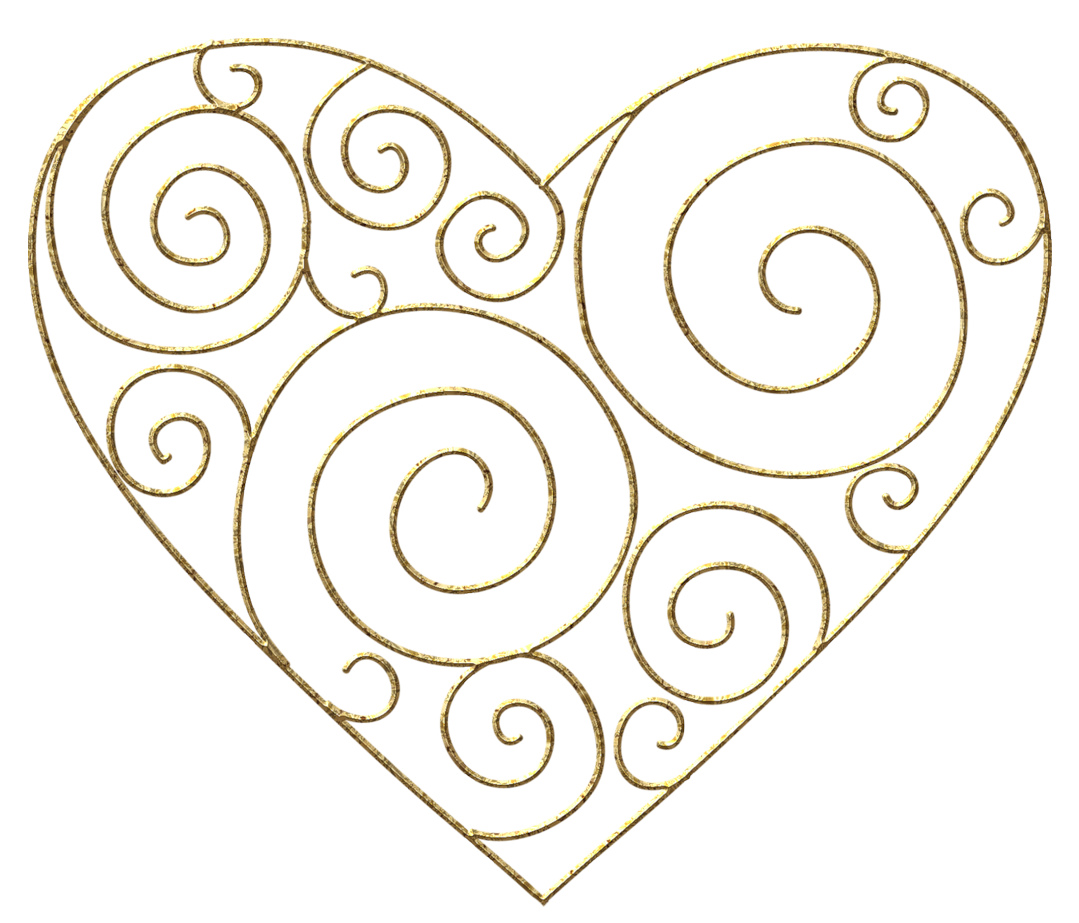 Transparent gold deco png. Drawing clipart heart