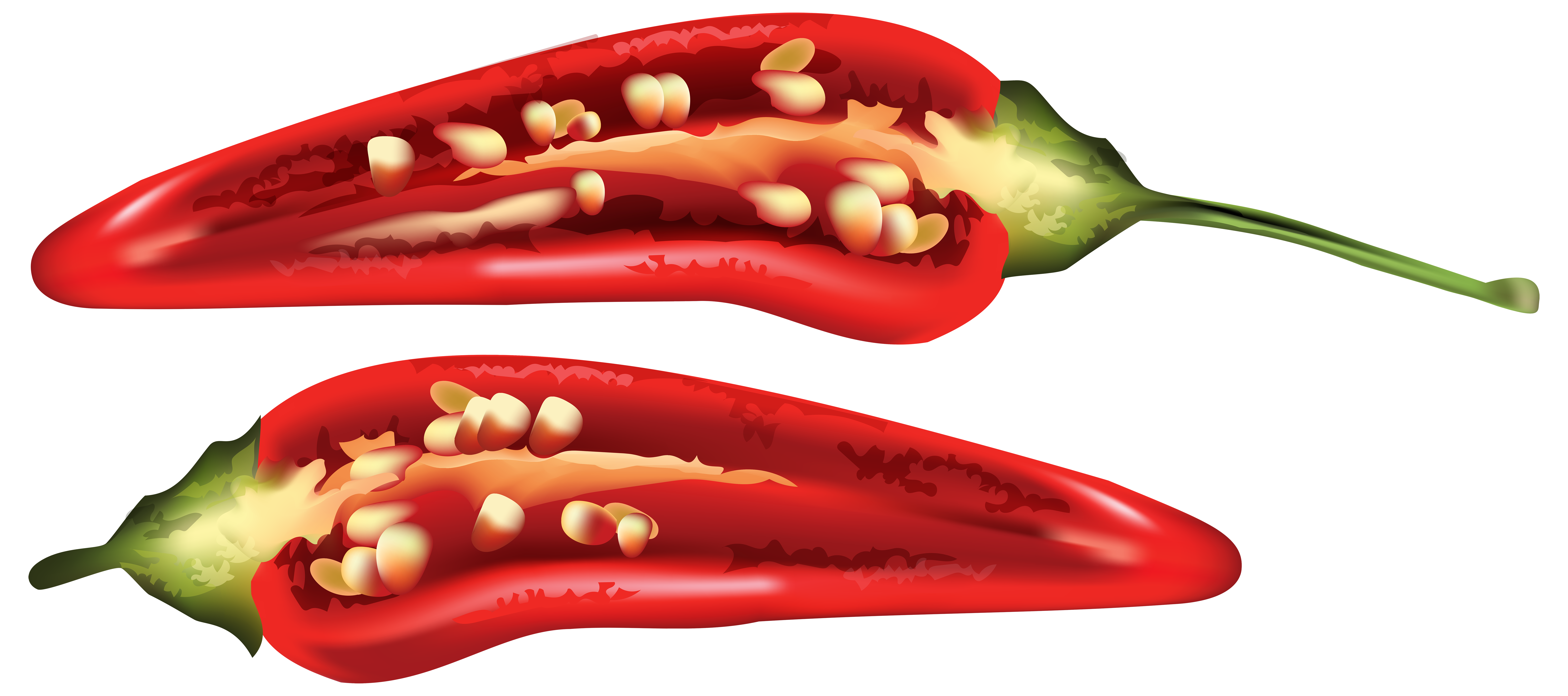 Peppers clipart chille. Half red chili pepper