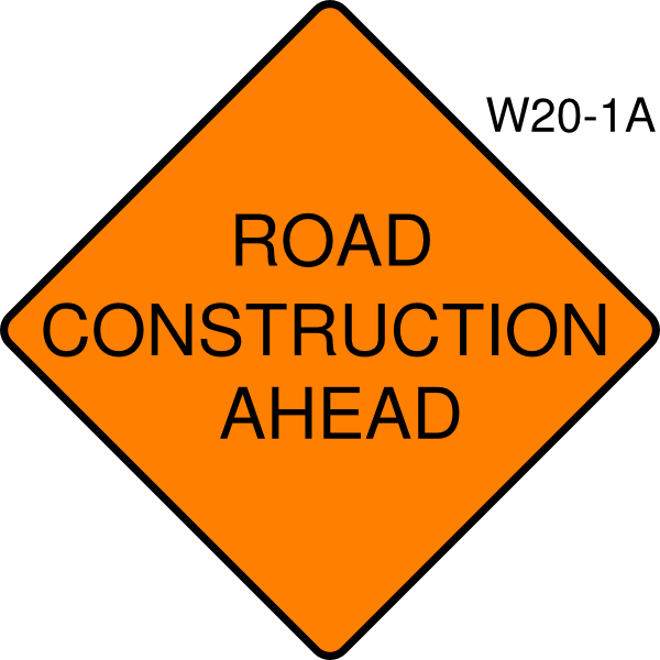 Free construction sign image. Clipart road curvy road