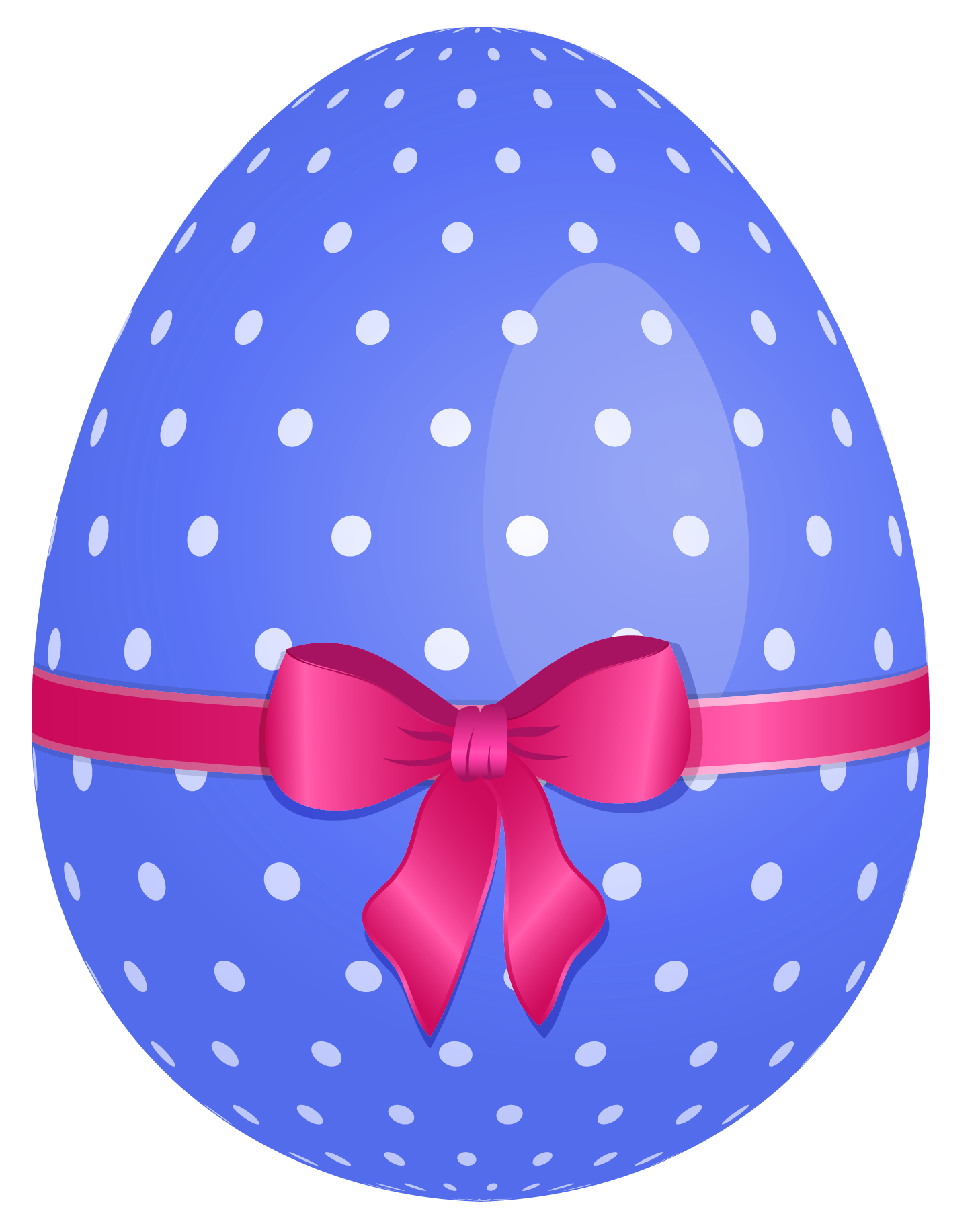 Dotted with pink bow. Blue clipart easter egg