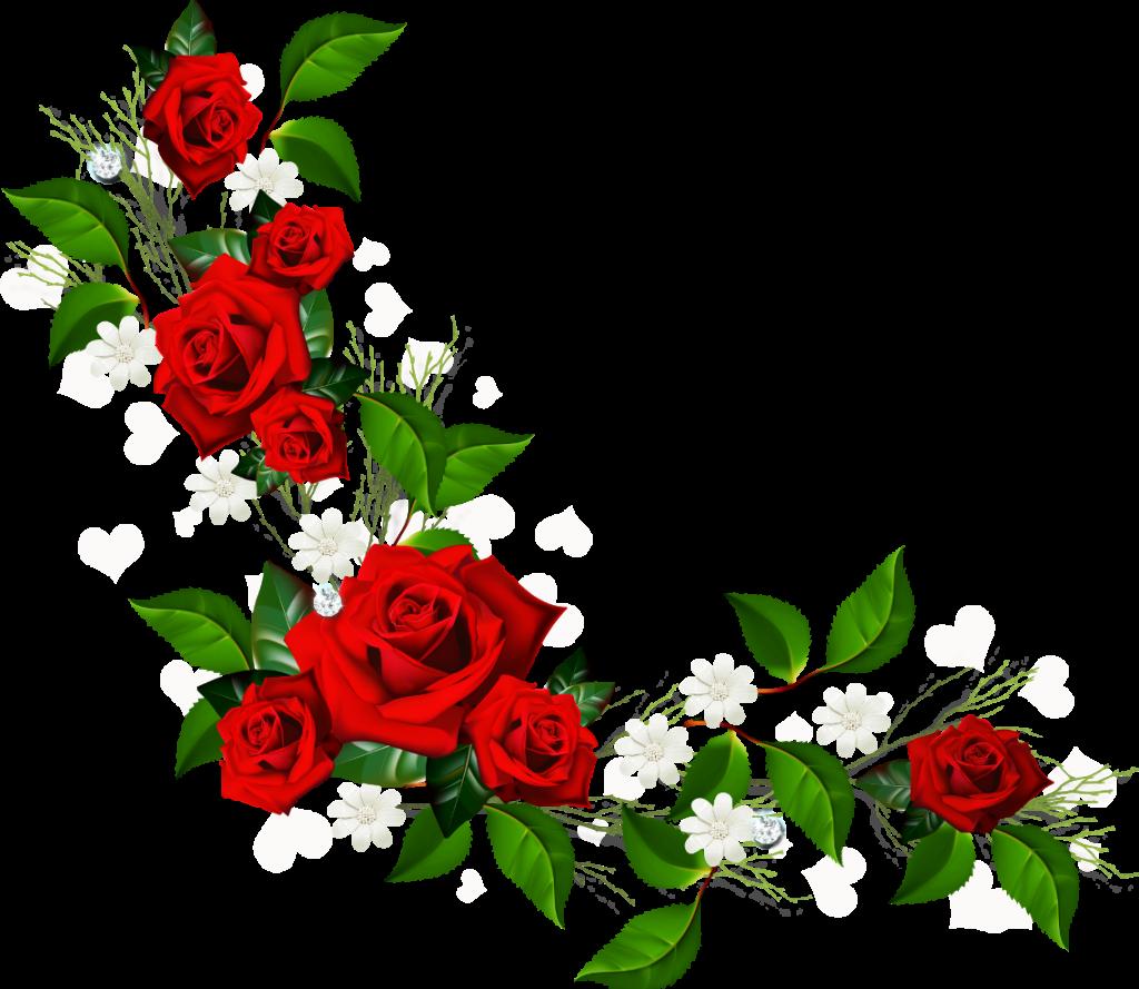 Garland clipart rose. Free horizontal flower border