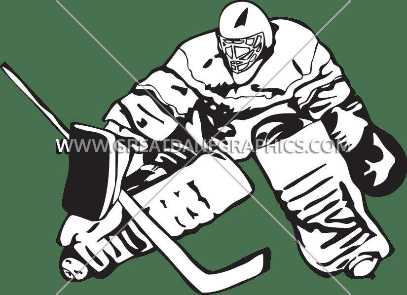Goalie block production ready. Hockey clipart easy
