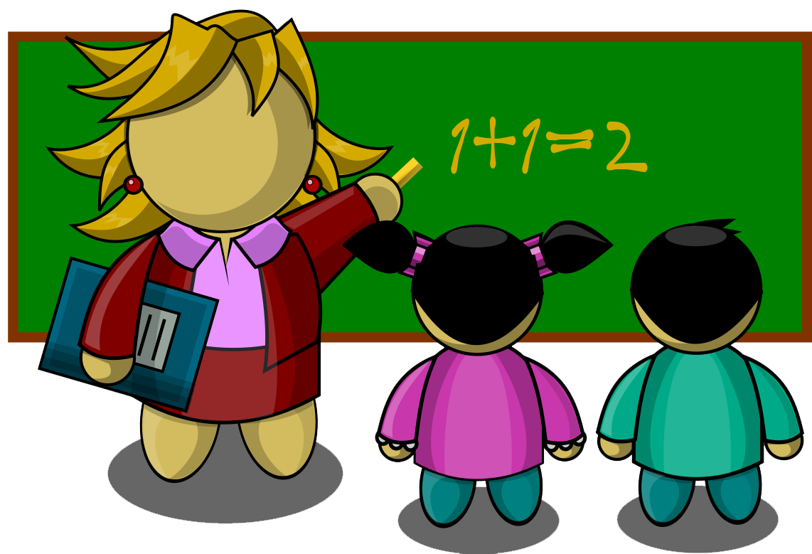 Teacher helping with math. Student clipart coloring