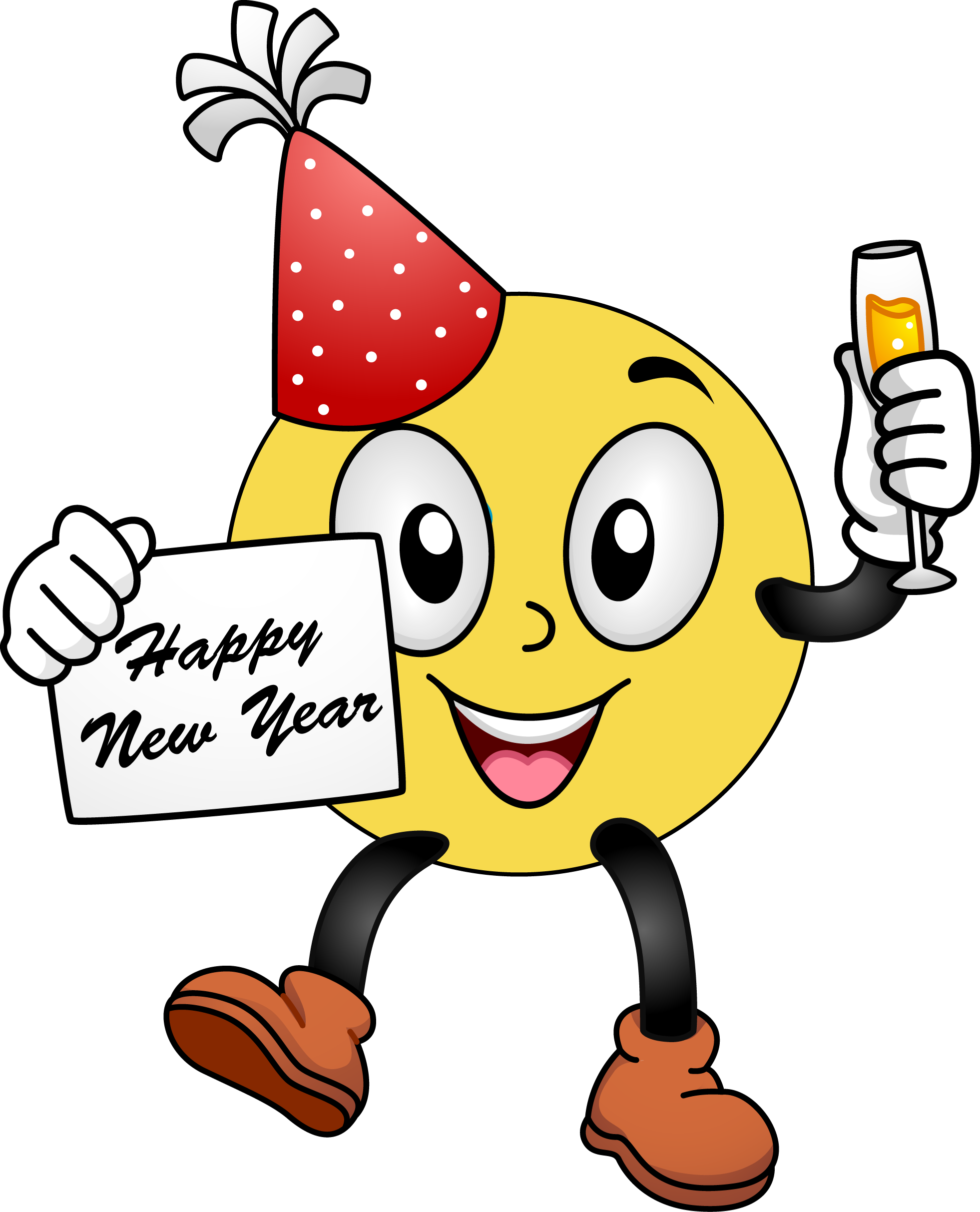 Clipart free new year. Smiley face happy panda