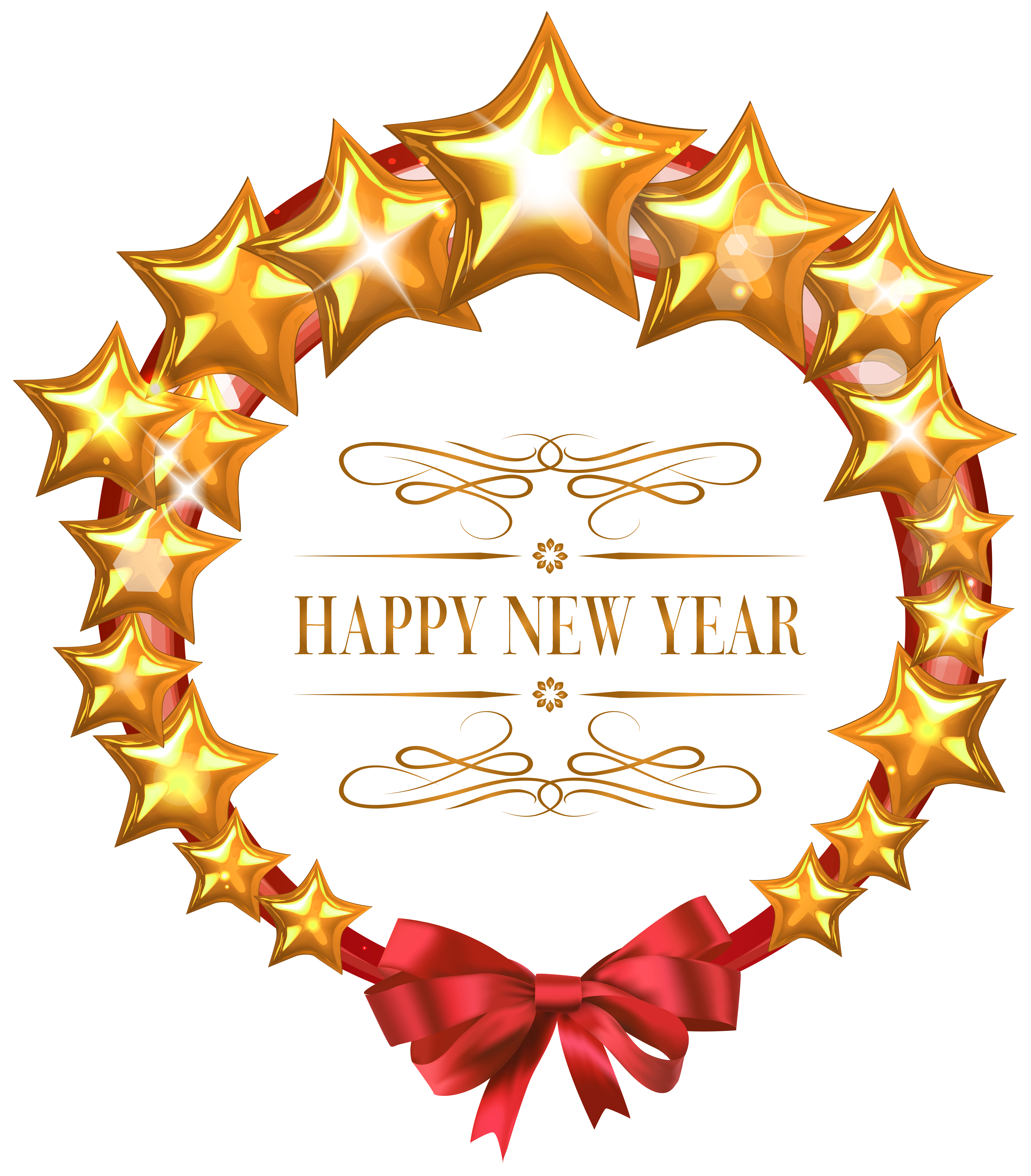 Happy stars oval decor. Glasses clipart new year