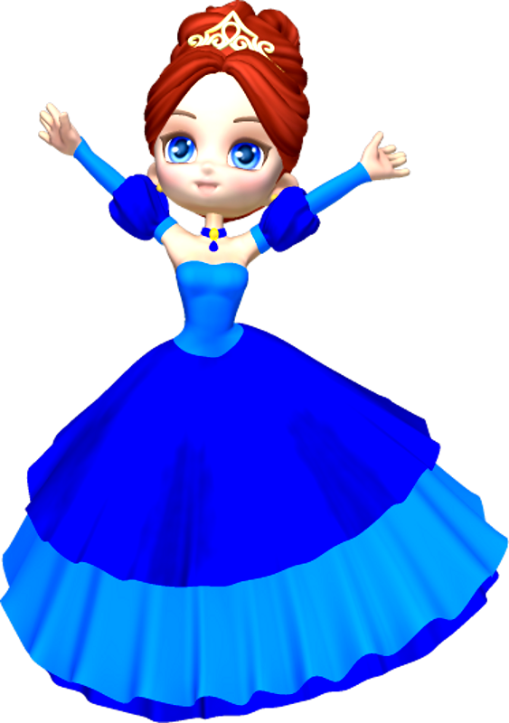 Princess in blue . Fairytale clipart cartoon