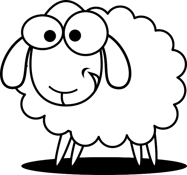 Drawn sheep pencil and. Lamb clipart vector