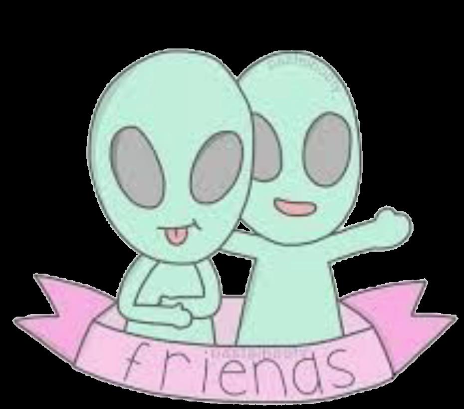 Clipart friends bff. Aliens ind sticker by