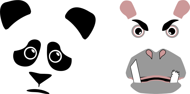Panda best friends forever. Clipart hippo animation