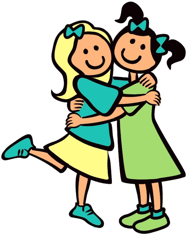 girls hugging as. Friendship clipart dear friend