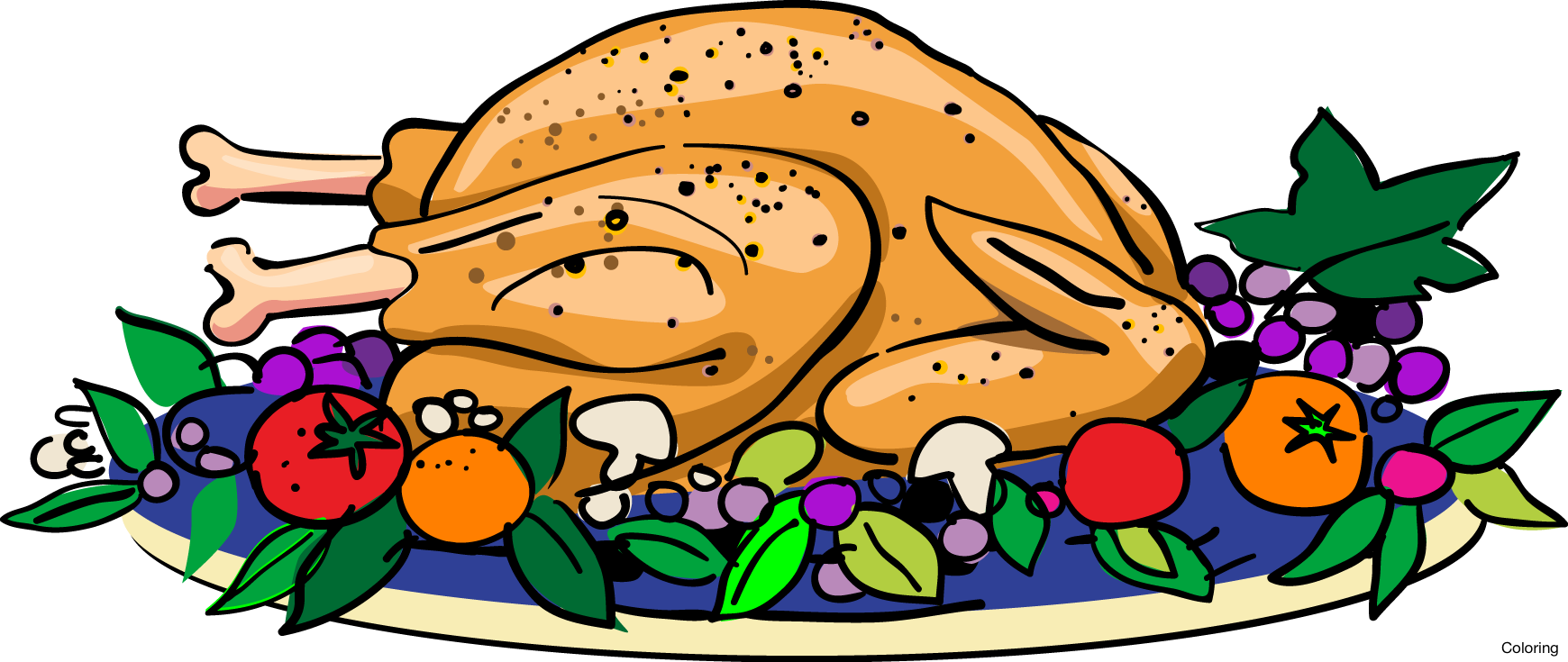 collection of turkey. Dinner clipart dinner party