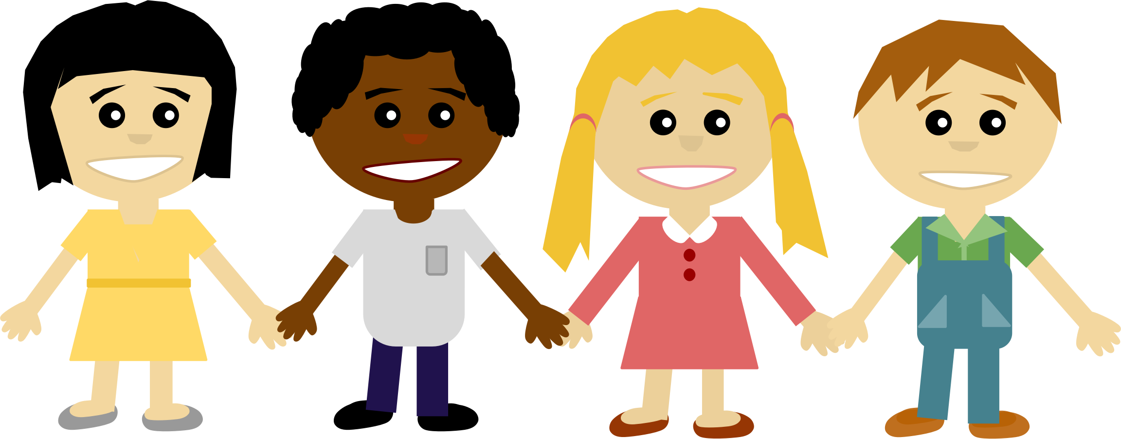 Clipart walking person cute. People holding hand group