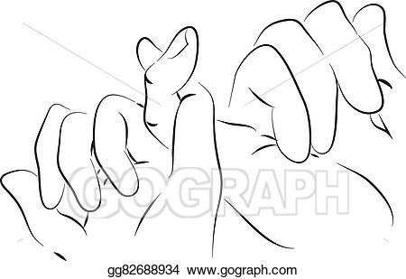 Vector art pinkie friends. Friend clipart hand