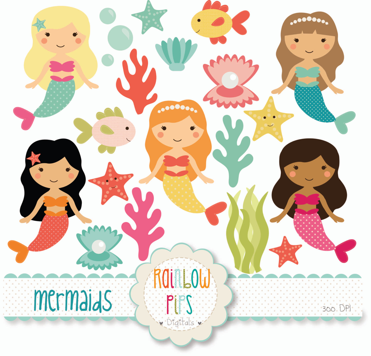 Mermaid clipart scene. Free mermaids cliparts download