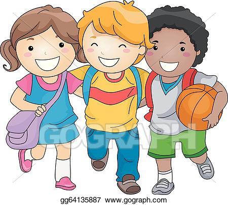 Vector art kids friends. Friendship clipart student friend