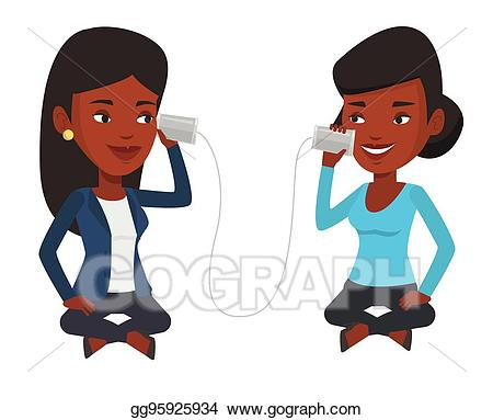 Telephone clipart friend. Eps illustration young friends