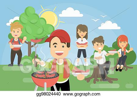 Vector stock picnic in. Park clipart park bbq