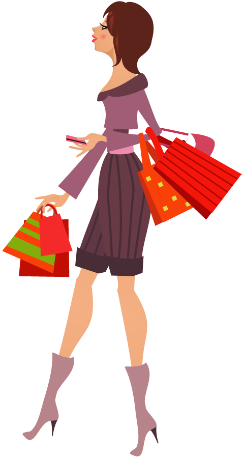 collection of shopping. Excited clipart happy lady