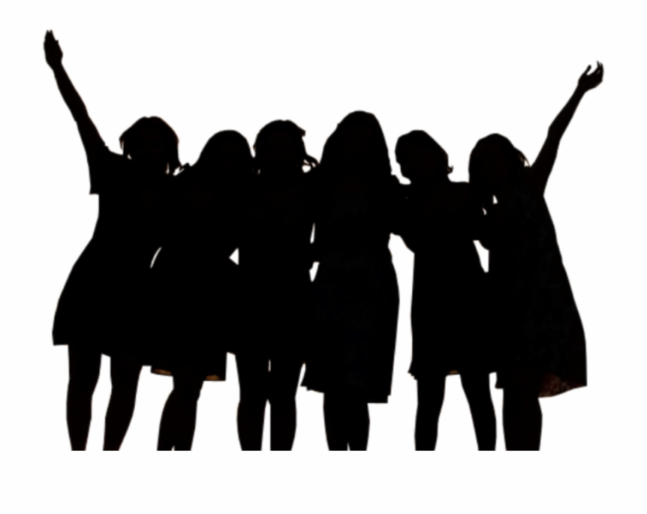 Friendship silhouette at group. Friends clipart shadow